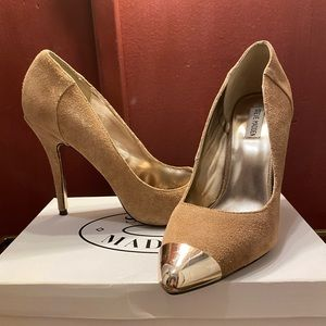 "Steve Madden Taupe Suede 5"" heels size 11M."